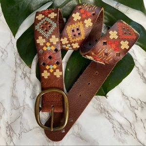 Fossil Boho Leather Embroidered Belt